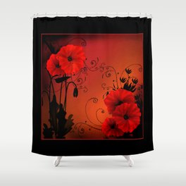 Poppy flowers, sunset Shower Curtain