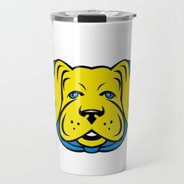 Super Yellow Lab Dog Wearing Blue Cape Travel Mug