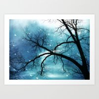Surreal Blue Gothic Trees Birds Nature Decor Art Print