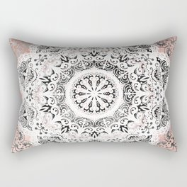 Dreamer Mandala White On Rose Gold Rectangular Pillow