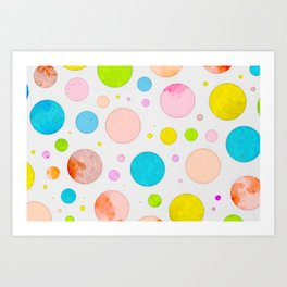 Colored Circles Abstract Sketch , Colorful Sketch, Children Drawing, Doodle Illustration, Wall Art Art Print