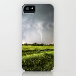 White Tornado - Twister Emerges from Rain Over Field in Kansas iPhone Case