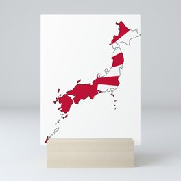 Japanese Map and Flag Mini Art Print