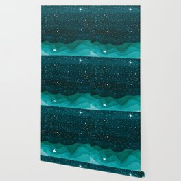 Starry Ocean, teal sailboat watercolor sea waves night Wallpaper