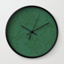 Floral Ink - Emerald & Olive Ranunculus Wall Clock