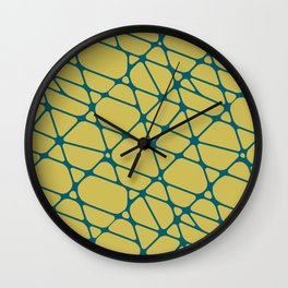 Tropical Dark Teal Abstract Mosaic Pattern 2 Inspired by Sherwin Williams 2020 Trending Color Oceanside SW6496 on Dark Yellow Wall Clock