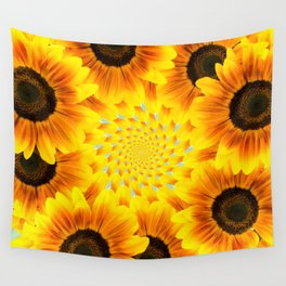 Spinning Sunflowers Wall Tapestry