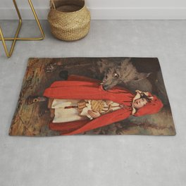 Little Red Riding Hood and the Big Bad Wolf portrait painting by Jesse Wilcox Smith Rug