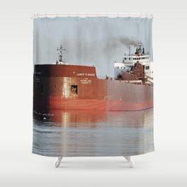 James R Barker Freighter Shower Curtain