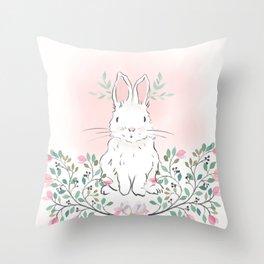 Magnolia Bunny Throw Pillow
