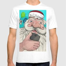 #santa#selfie SMALL White Mens Fitted Tee