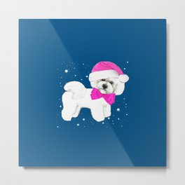 Bichon Frise pink santa hat christmas holiday themed pattern print pet friendly dog breed gifts Metal Print