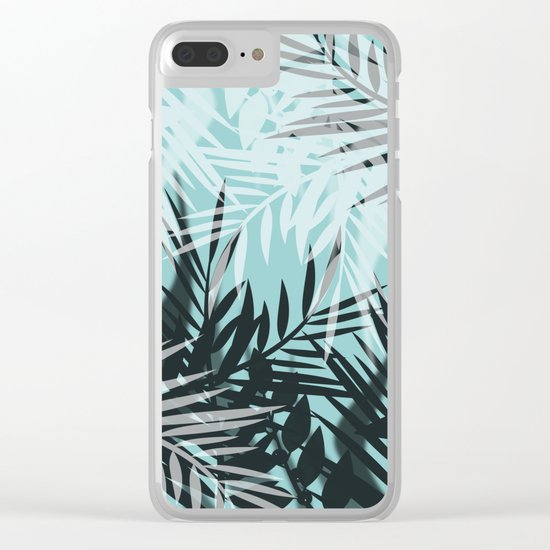 Tropical blue summer print palm leaves Clear iPhone Case