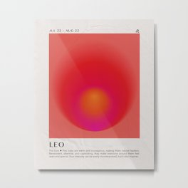 Leo Astrology Zodiac Aura Gradient Art Print Metal Print