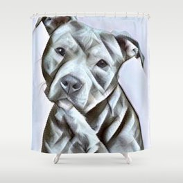 Pit Bull lover, a portrait of a beautiful pit bull puppy Shower Curtain