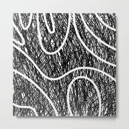 Scribble Ripples - Abstract Black and White Ink Scribble Pattern Metal Print