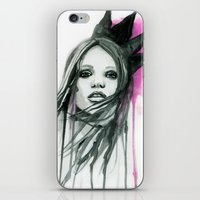 downton abbey iPhone & iPod Skins featuring Watercolour Fashion Illustration Portrait Abbey Lee by Elise Reid