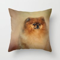 pomeranian Throw Pillows featuring Proud Pomeranian by Jai Johnson