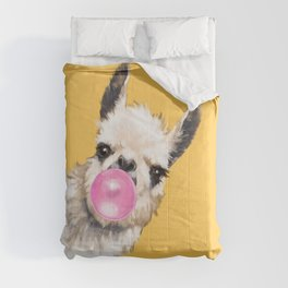 Bubble Gum Sneaky Llama in Yellow Comforters