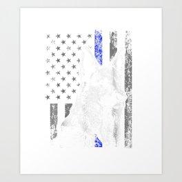 Thin Blue Line Flag K9 Shirt German Shepherd Police Dog Gift Art Print