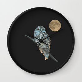Owl, See the Moon (sq) Wall Clock