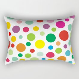 Rainbow Colorful polka dots on white Rectangular Pillow