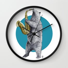 saxophone bear Wall Clock