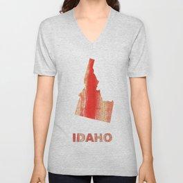 Idaho map outline Burnt sienna watercolor Unisex V-Neck