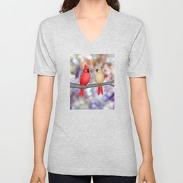 cardinals on a branch - bokeh Unisex V-Neck