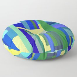 Abstract Blue Lime Pattern Floor Pillow