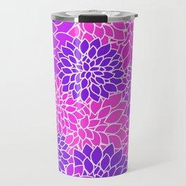 Shades Of Purple - Bright Floral Pattern - Flower Art Travel Mug