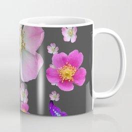 PURPLE BUTTERFLIES & PINK ROSES GREY MONTAGE Coffee Mug