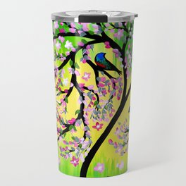 Green Tree of Life With Japanese Cherry Blossom Travel Mug