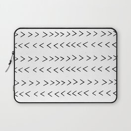 linocut Mudcloth grey and white minimal modern chevron arrows pattern gifts dorm college decor Laptop Sleeve
