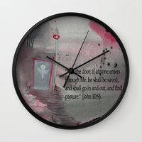 religious Wall Clocks featuring The Door----Religious Abstract Art --- John 10:9 --- by Saribelle Rodriguez by Saribelle Inspirational Art