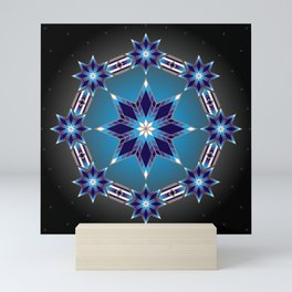Morning Star Circle (Blue) Mini Art Print