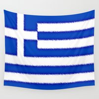 greek Wall Tapestries featuring Greek flag by Created by Eleni
