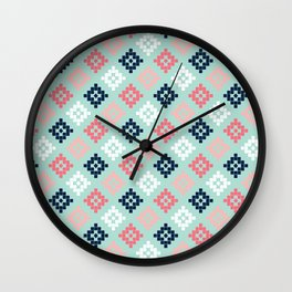 Aztec tribal colorful native geometric pattern design print duvet cover dorm decor college student  Wall Clock