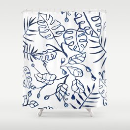 Tropical Plant Boho Chinoiserie Blue and White Shower Curtain