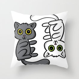 Two Cats, One Print Throw Pillow