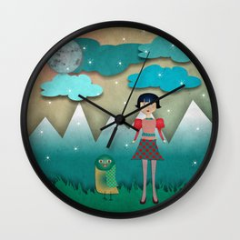 The girl and the owl Wall Clock