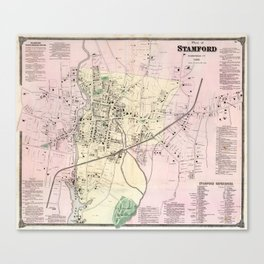 Vintage Map of Stamford CT (1867) Canvas Print