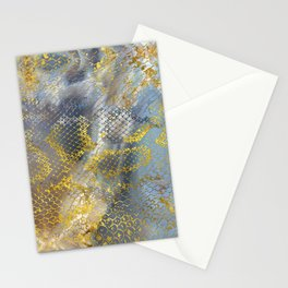 Faux gold snake skin texture on  marble Stationery Cards