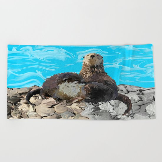 Where the River Meets the Sea Otters Beach Towel