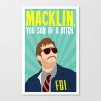 "parks and recreation Canvas Prints featuring Parks and Recreation ""Burt Macklin"" by DeanFred Rex"