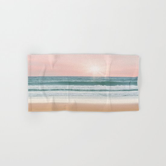 Pink pastel ocean #sunset Hand & Bath Towel