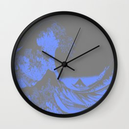 The Great Wave : Gray & Periwinkle Lavender Wall Clock