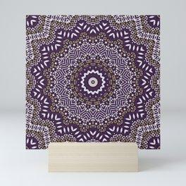 Purple brown mandala Mini Art Print