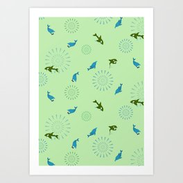 Green Orca and Dolphin Art Print