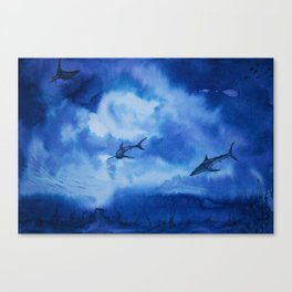 Ink sharks Canvas Print